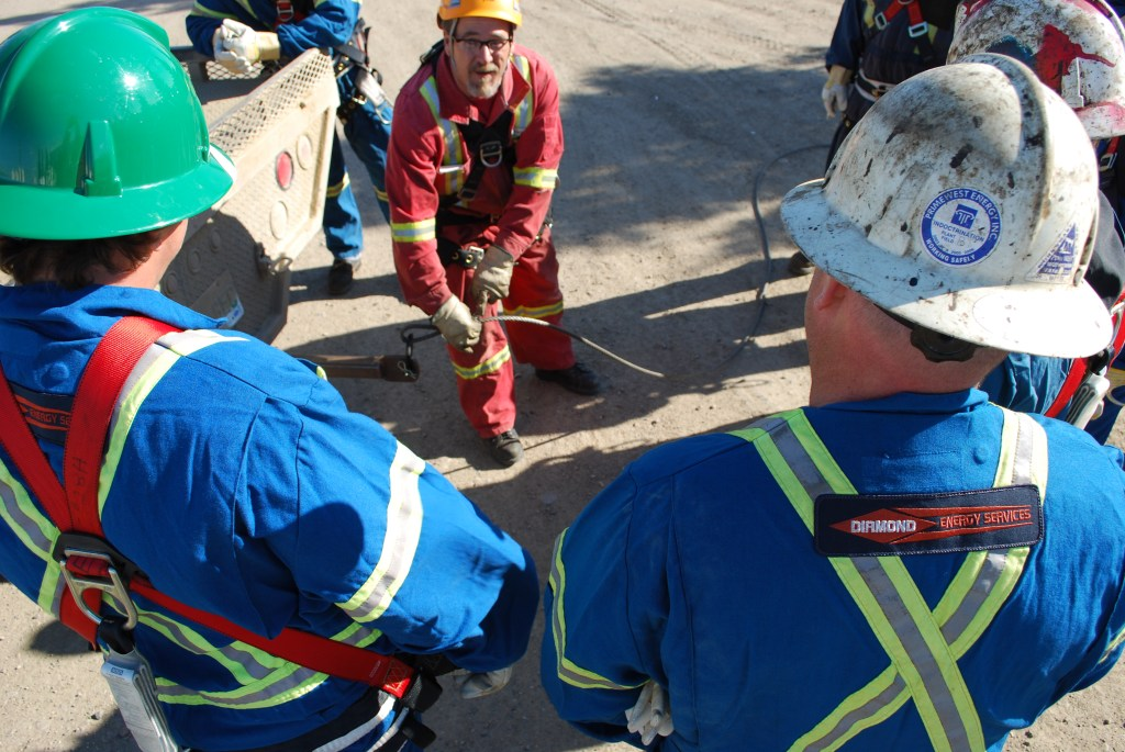 Great Plains College students receiving rig rescue/fall protection training. A full list of course offerings is available at www.greatplainscollege.ca, or you can contact Great Plains College directly to arrange specific, customized training.