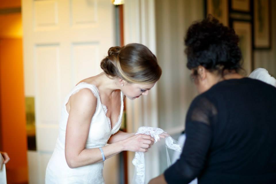 Saskia with a bridal hair client