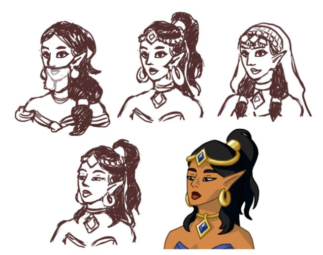 djinn princess design sketches