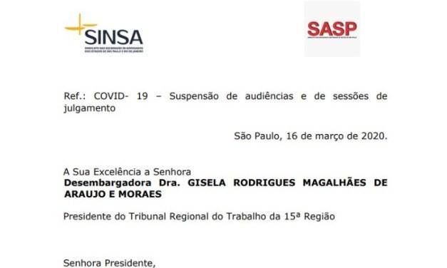 SASP e Sinsa apresentam ofício para suspensões de audiência e sessões de julgamentos