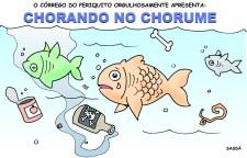 Córrego do periquito é poluído pelo chorume do lixão.