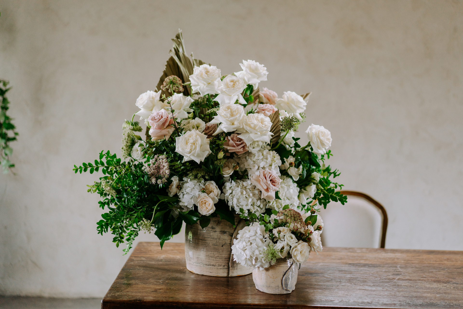 Foam free arrangements for a white and green wedding at Stones of the Yarra Valley.