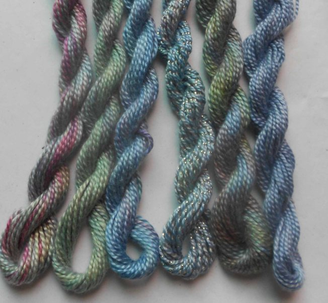 A collection of mini skeins of medium perle, including one of our special metallic perle. Click the picture to buy direct via PayPal. Only one available