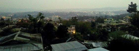 This is the view of Shillong one evening from my homestay in Upper Lumparing....