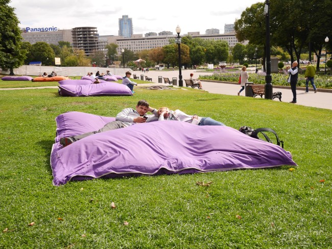 Bean bag beds across Gorky Park