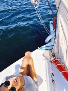 Girl on boat in Nile river Egypt