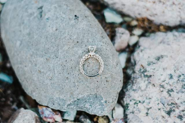 engagement ring on rock