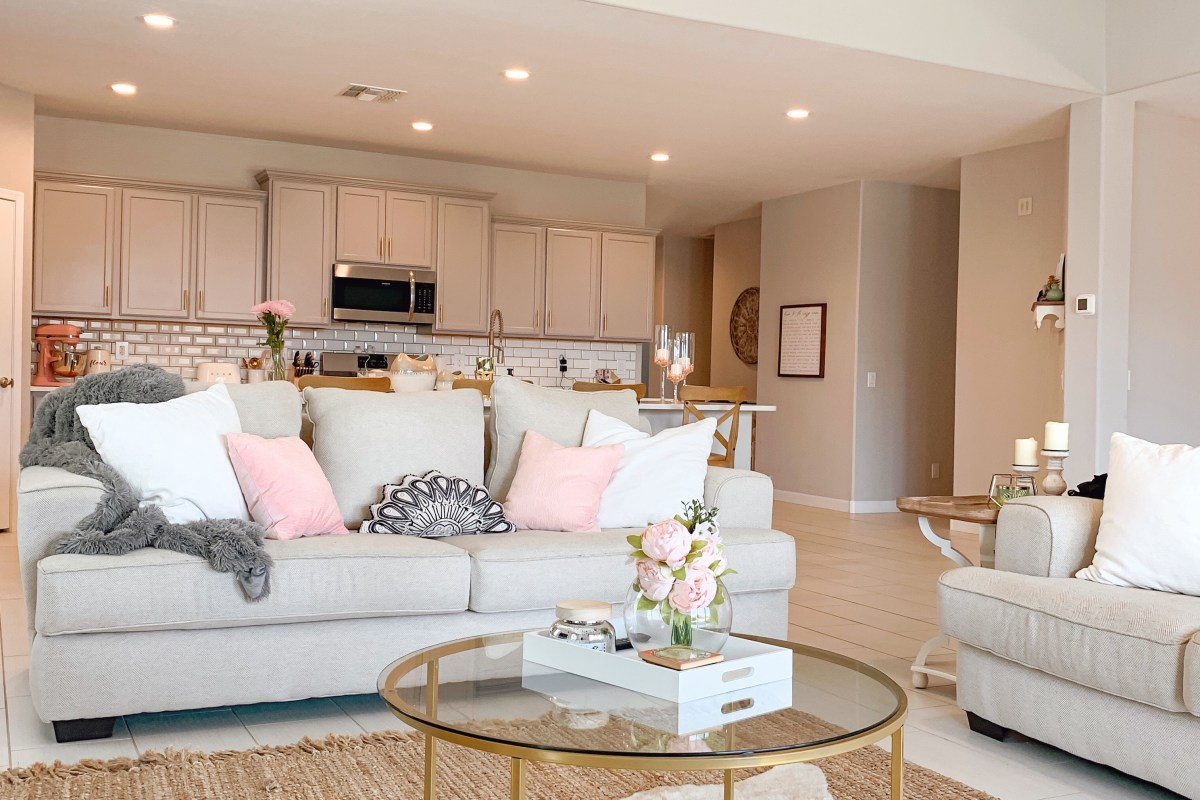 rustic glam pink and gold living room