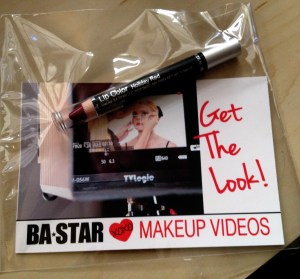 BA Star Makeup Videos Get the Look flyer and Holiday Red Lip Pencil