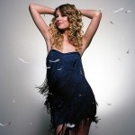 Taylor Swift Foley Corinna strapless ombre fringe dress