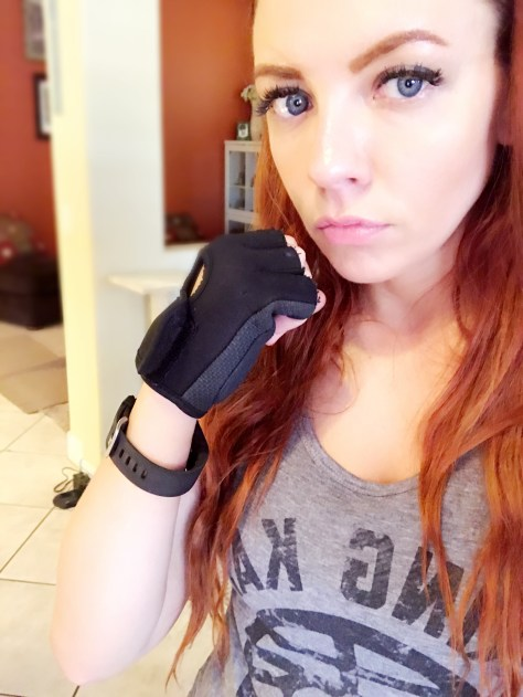cailin feels punchy core de force king kai training shirt fitbit gloves