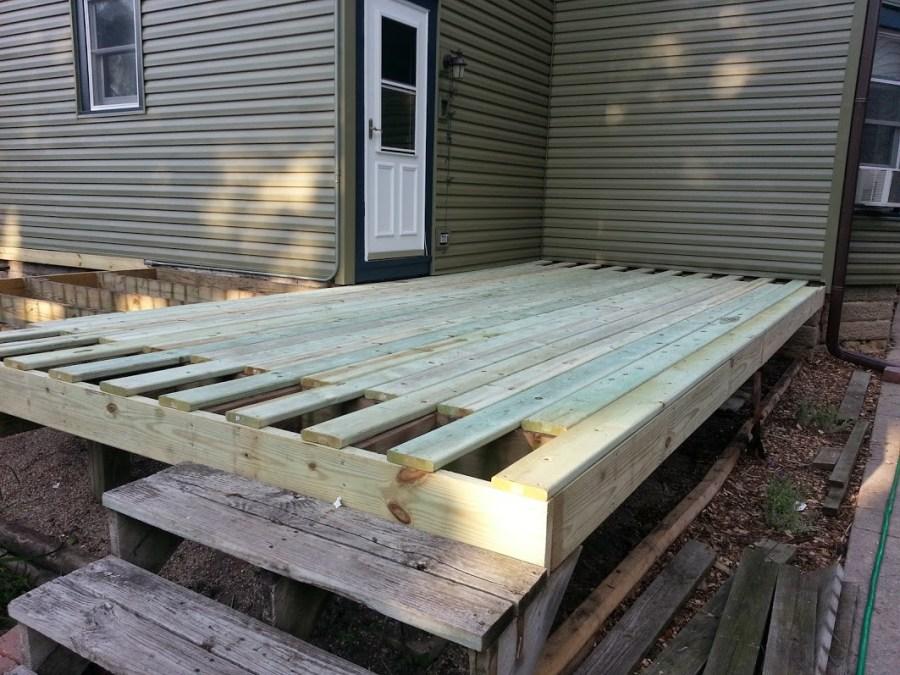 The foundation of the new deck