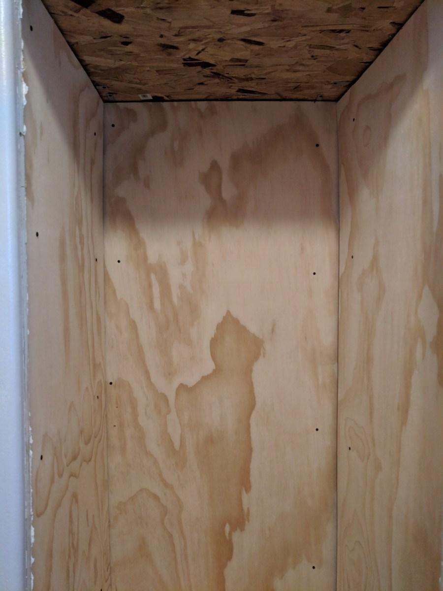Bathroom closet plywood walls osb ceiling