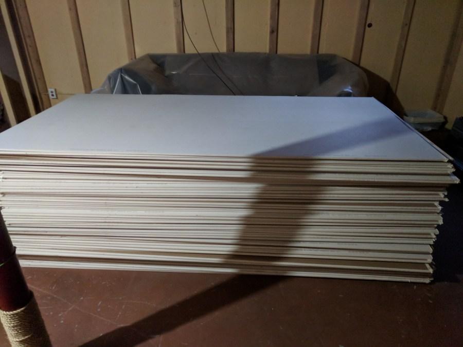 Basement drywall pile