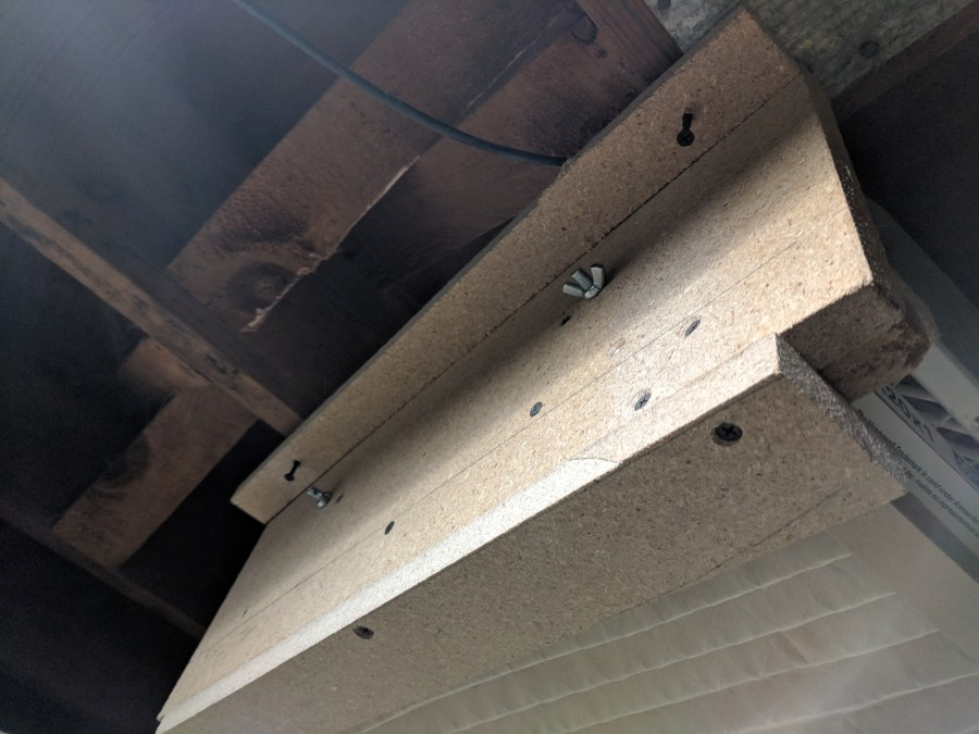 Box fan air cleaner ceiling joist