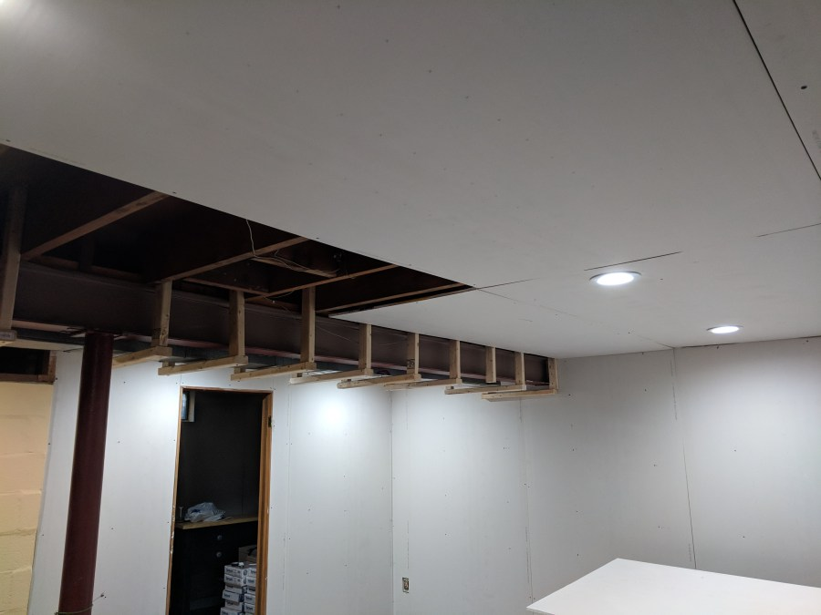 Ceiling drywall one side nearly done