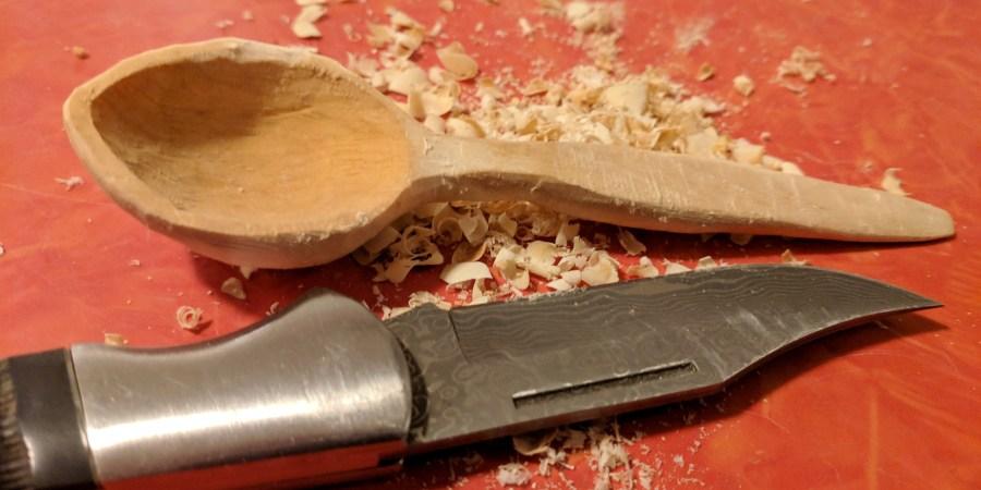 Spoon carving finished with shavings