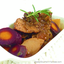 Garlic-Bacon Pot Roast with Purple Carrots from Sassy Southern Yankee