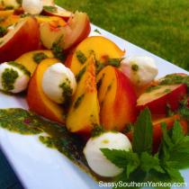 Peach and Mozzarella salad with Basil Mint Pesto from Sassy Southern Yankee