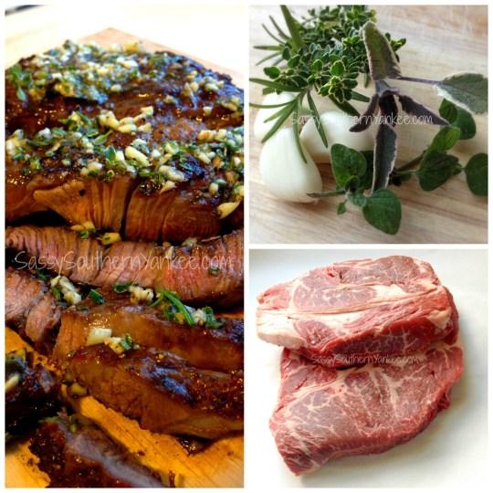 Steak with Three-Herbed Garlic Butter