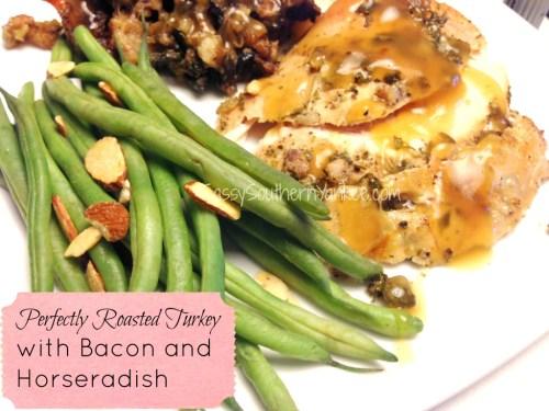 Perfectly Roasted Turkey with Bacon and Horseradish