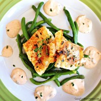 Grilled Cod with Lemon Thyme and Garlicky Green Beans