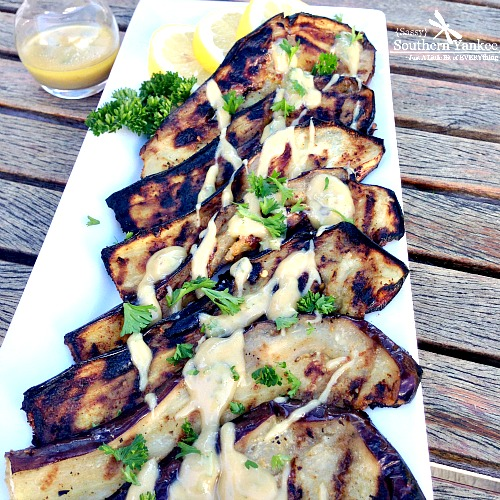 Garlic Roasted Eggplant with Lemon Tahini Dressing 2
