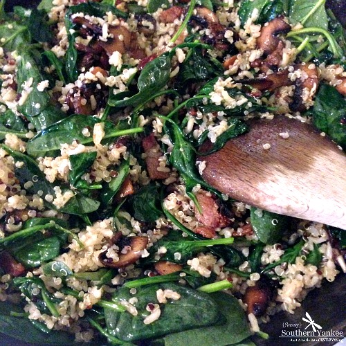 Bacon, Mushroom and Spinach Quinoa