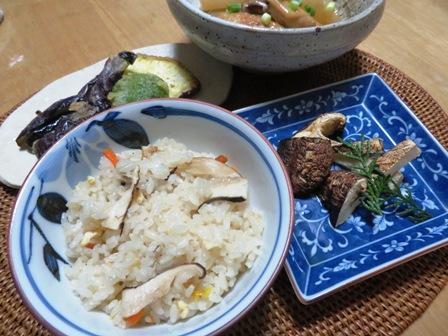 マツタケご飯と焼きマツタケ