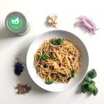 11Picture of Pasta-Cilantro-Broccoli-Mushroom-Sasya with ingredients