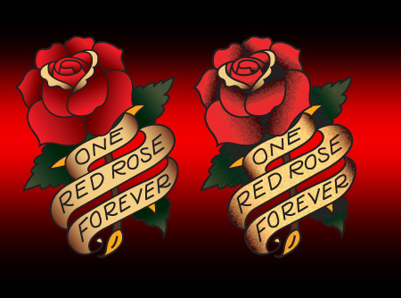 Sailor Jerry style Rose and Scroll Vector