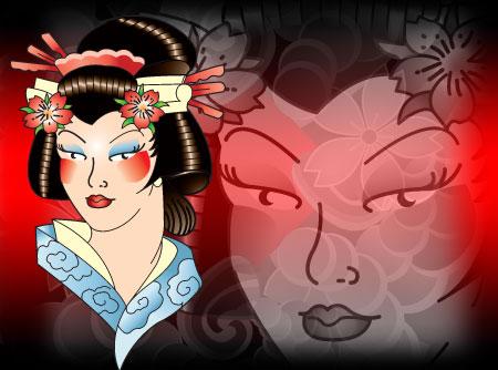 Ed Hardy Style Geisha Vector