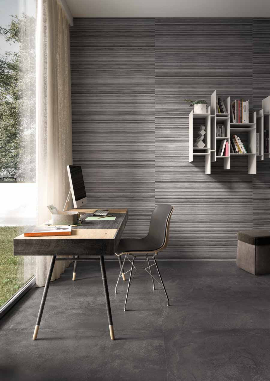 Satariano Walls And Floors Viva Modern Large Grey Textured Square Tiles And Feature Wall Satariano