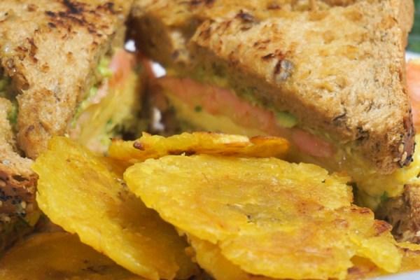 Breakfast Sandwich w/ Plantain Chips & Sautéed Spinach