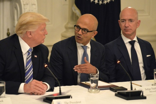 The heads of some of the world's biggest tech companies have appeared before Washington lawmakers to defend their firms against claims they abuse their power to quash competitors.