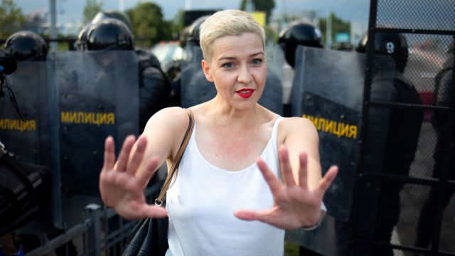 Maria Kolesnikova said she was forced into a van and told that if she did not leave willingly she would be removed