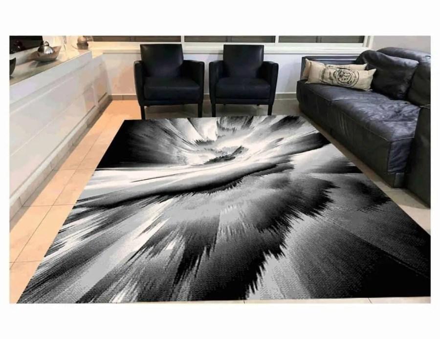 שטיח מודרני אפור שחור NO25