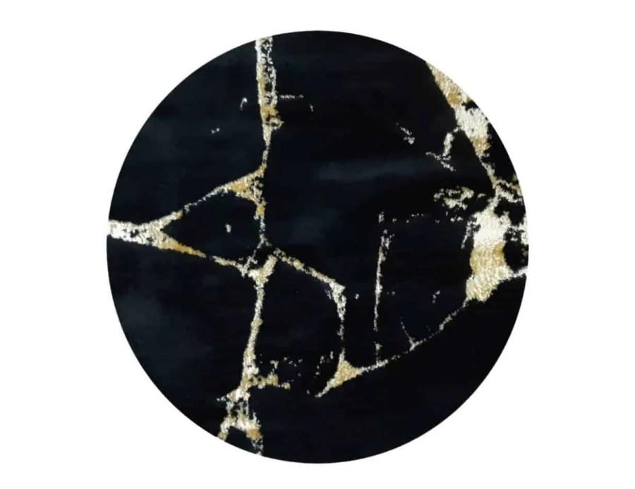 שטיח בד עגול לסלון שחור זהב