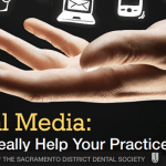 Social icons hovering above an open hand with the words, Social Media: Will it really help your practice?