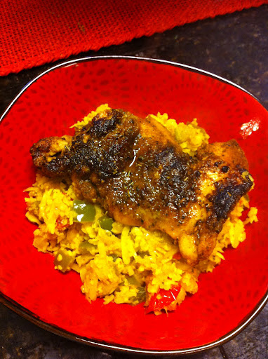 "Adobo Chicken with Seasoned Yellow ""Rice"""
