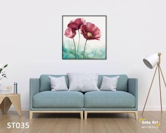 Tranh 3 cành hoa đơn giản đẹp
