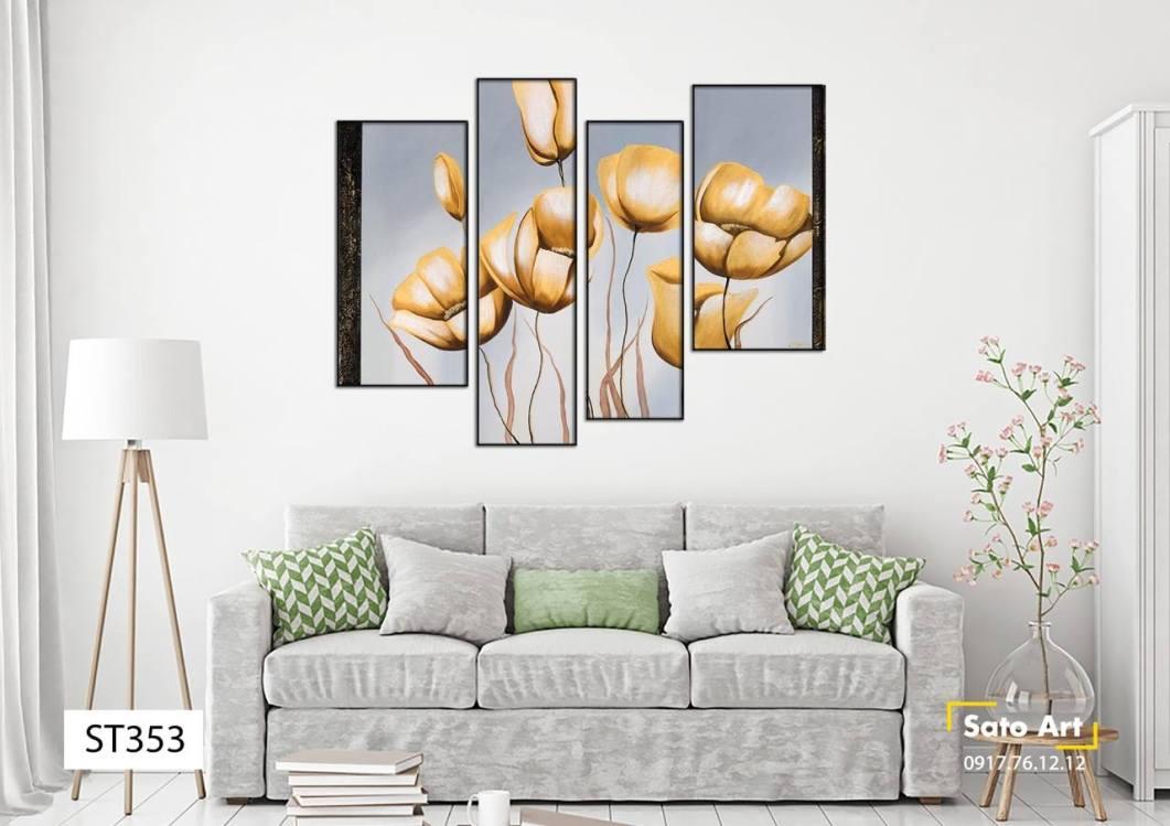 Bộ 4 tranh hoa anh túc tone vàng