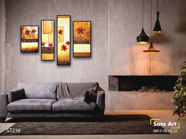 Bộ 4 tranh hoa tone vàng