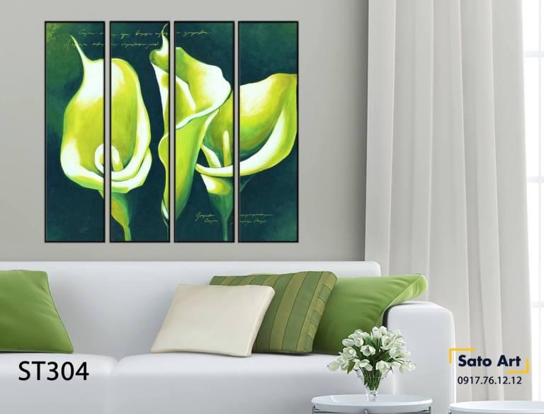 Bộ 4 tranh sơn dầu hoa loa kèn uy tín
