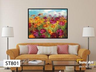 Bán tranh sơn dầu cánh đồng hoa