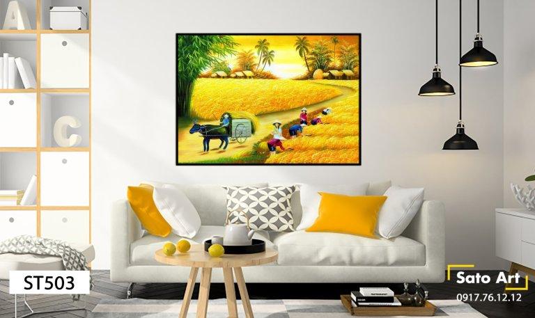 Bức tranh phong cảnh đồng lúa