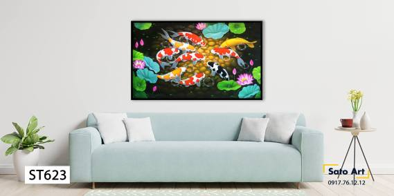Tranh sơn dầu cá chép hoa sen
