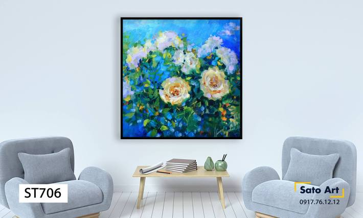 Tranh hoa hồng trừu tượng