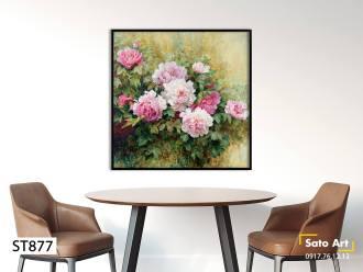 Tranh sơn dầu hoa mẫu đơn màu hồng