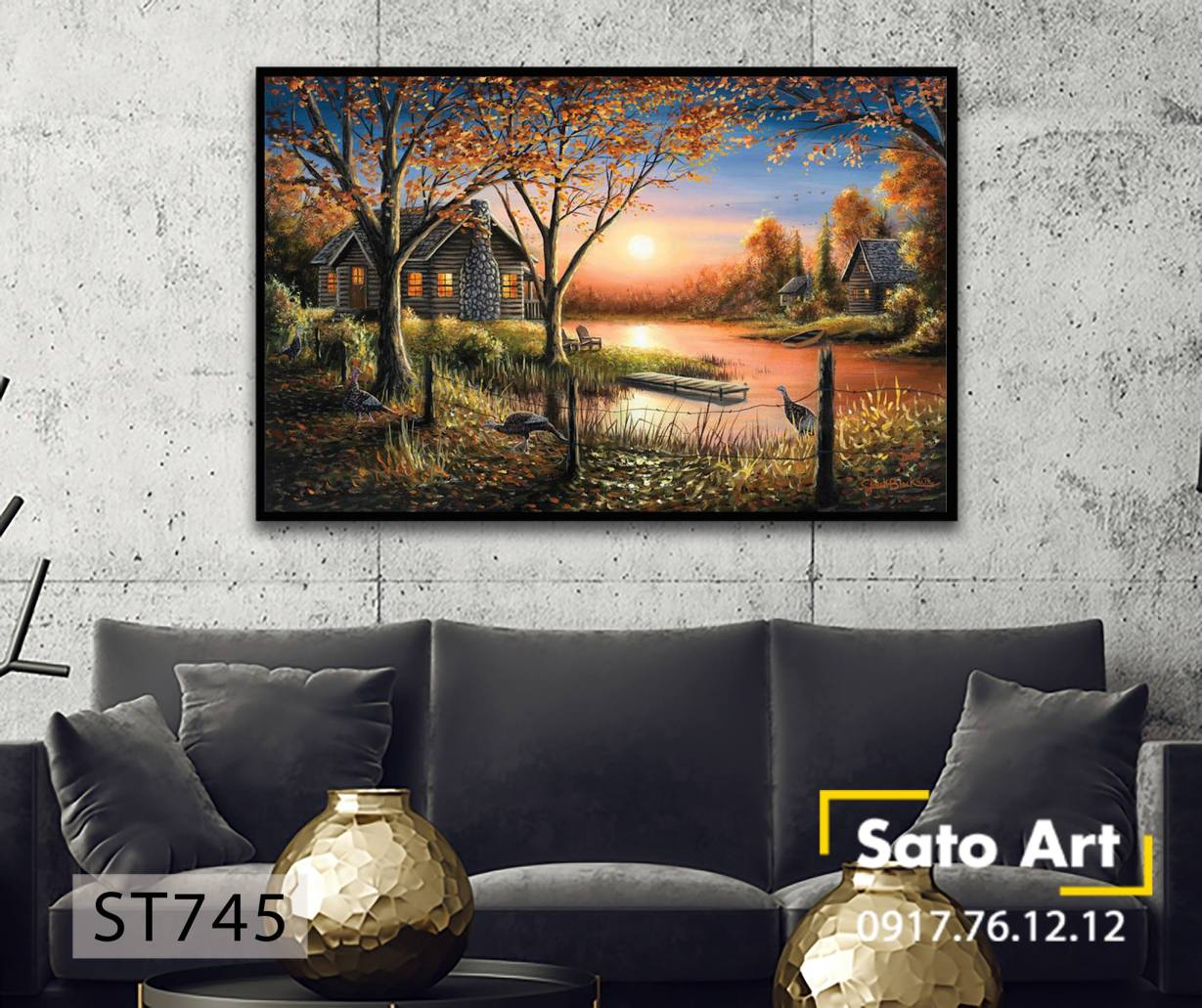 Tranh sơn dầu phong cảnh hoàng hôn